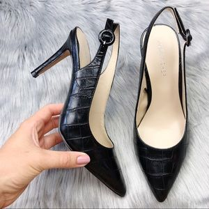 New Marc Fisher Black Croc Print Slingback Heels